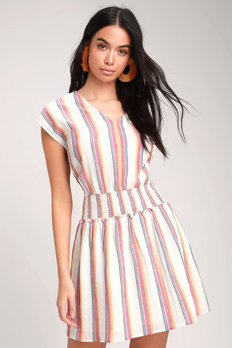 4ae35898f9 Lulus Bungalow Cream Multi Striped Mini Dress