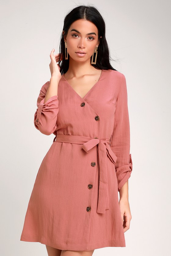 WILLAH RUSTY ROSE BUTTON-UP WRAP DRESS
