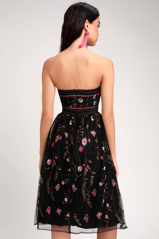 bcbda14b5299 Lovely Black Embroidered Dress - Strapless Dress - Midi Dress