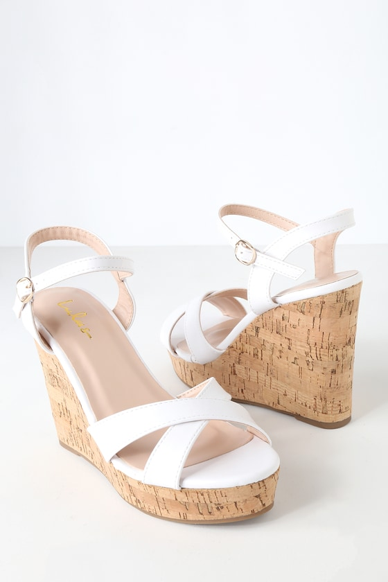 a37113373 Cute White Sandals - Wedge Sandals - Cork Sandals