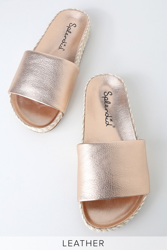 Sanford Rose Metallic Leather Espadrille Slide Sandals by Splendid