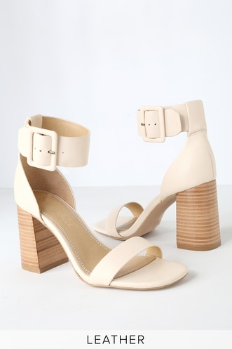 c04616856a2 Siri Cream Leather Ankle Strap Heels