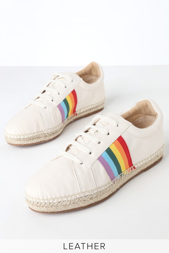 60s Shoes, Boots | 70s Shoes, Platforms, Boots Sada White Leather Espadrille Sneakers - Lulus $128.00 AT vintagedancer.com