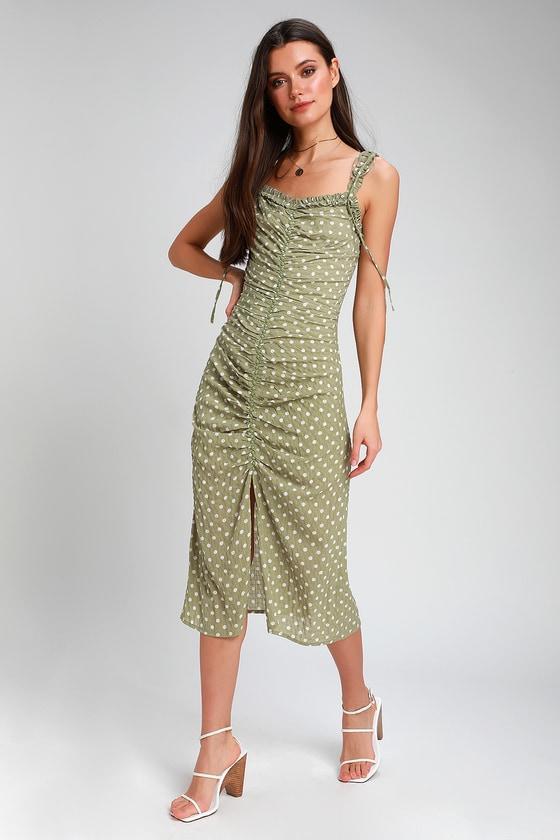 16dfe1d10b982 Carlee Sage Green Polka Dot Ruched Midi Dress