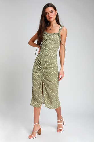 6a8277408e7 Carlee Sage Green Polka Dot Ruched Midi Dress