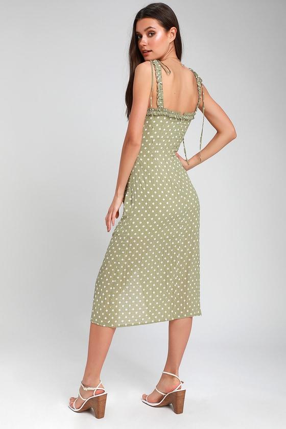 f35f3e23556dc Cute Sage Green Polka Dot Dress - Midi Dress - Ruched Dress