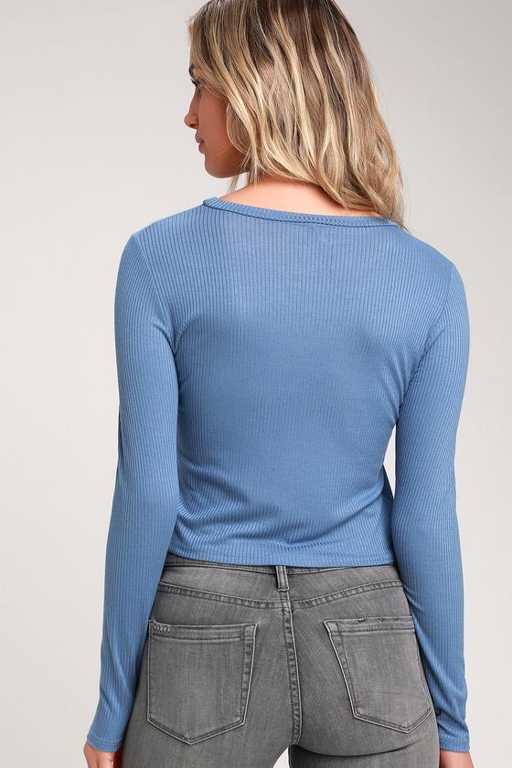 c0b09e34afa287 Dusty Blue Top - Crop Top - Long Sleeve Top - Ribbed Knit Top