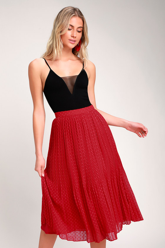 Vintage Christmas Dress | Party Dresses | Night Out Outfits Youre On My Mind Red Pleated Swiss Dot Midi Skirt - Lulus $45.00 AT vintagedancer.com