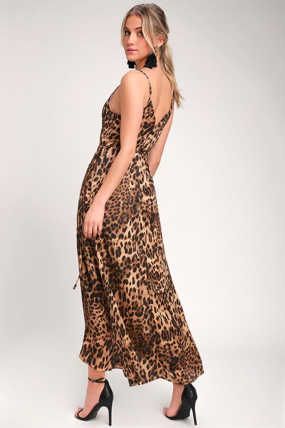 4ab9a0455732 Sexy Leopard Print Maxi Dress - Satin Dress - Wrap Dress