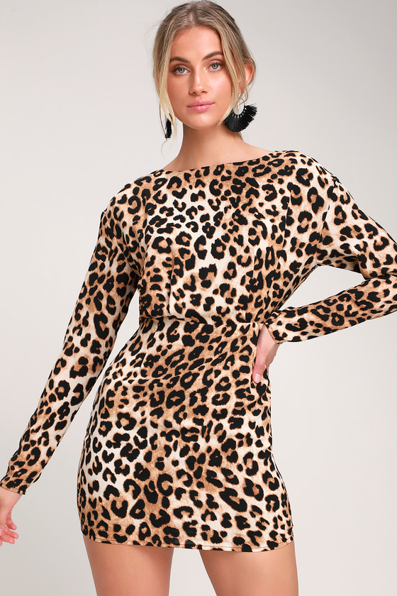 605e8945b23 Sexy Leopard Print Dress - Leopard Print Long Sleeve Mini Dress