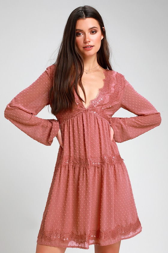 17320f571d Lovely Rusty Rose Dress - Swiss Dot Dress - Lace Dress - Dress