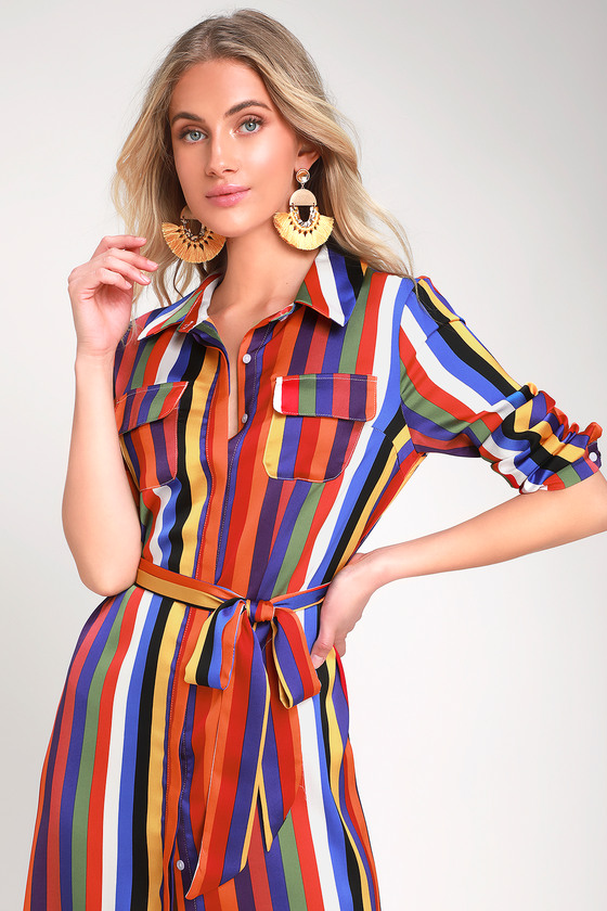 AMUSE ME CASUAL RAINBOW STRIPED LONG SLEEVE MIDI SHIRT DRESS