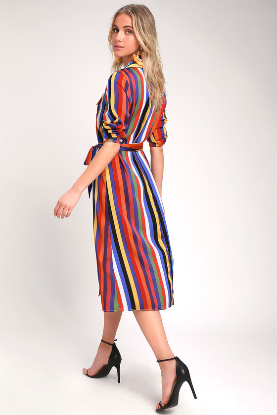 74c1cc6342bc Cute Rainbow Striped Dress - Long Sleeve Dress - Shirt Dress
