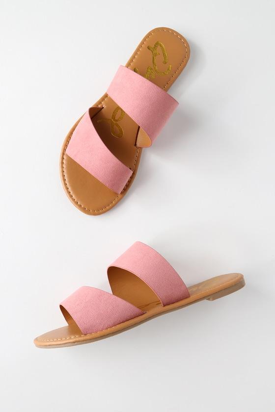 f24f42271 Cute Pink Sandals - Rose Flat Sandals - Ash Rose Slide Sandals