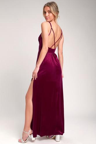 08c360ce8d Final Song Magenta Velvet Maxi Dress
