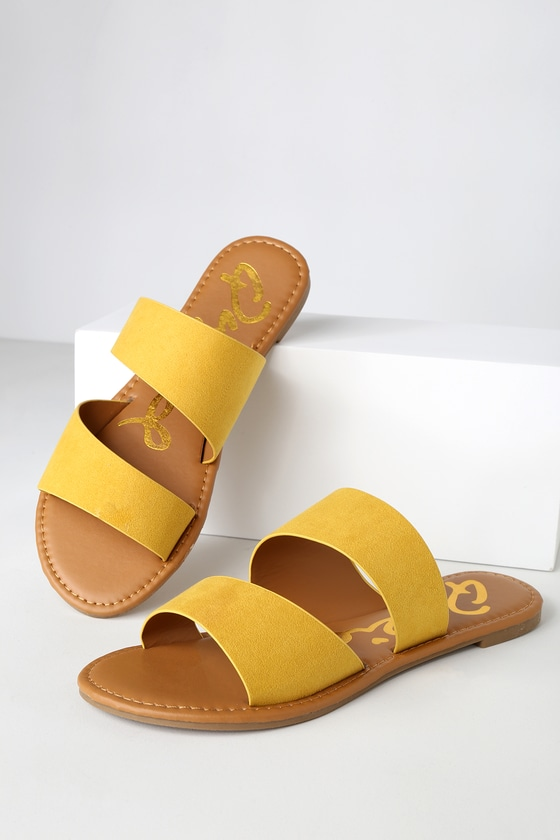 cute yellow sandals - yellow flat sandals