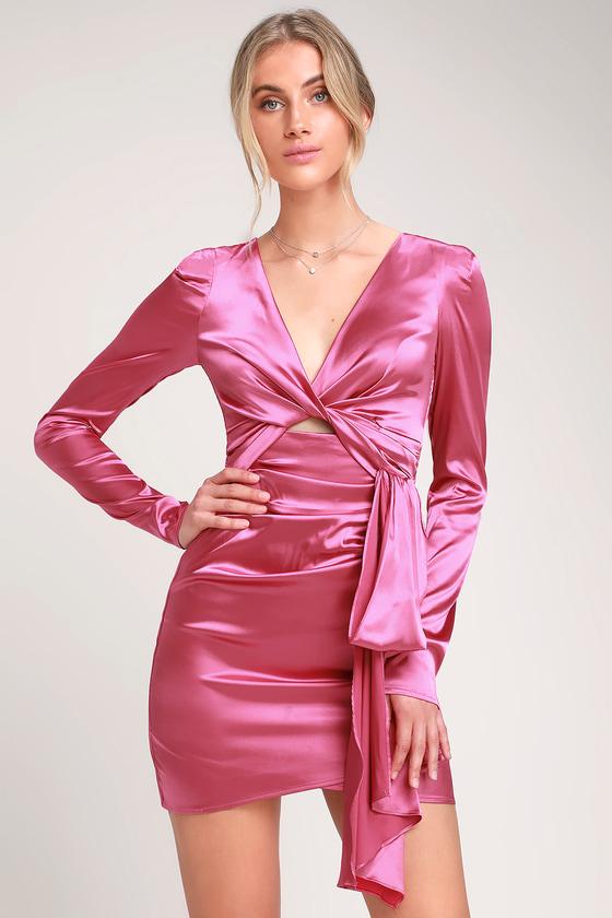 a1f0c37a038a Sexy Hot Pink Dress - Satin Mini Dress - Satin Cutout Mini Dress