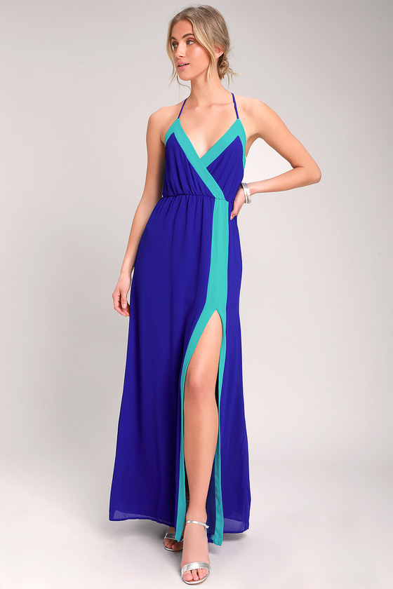 b3bf83be80ff Cobalt Blue Maxi Dress - Color Block Maxi Dress - Two-Tone Maxi