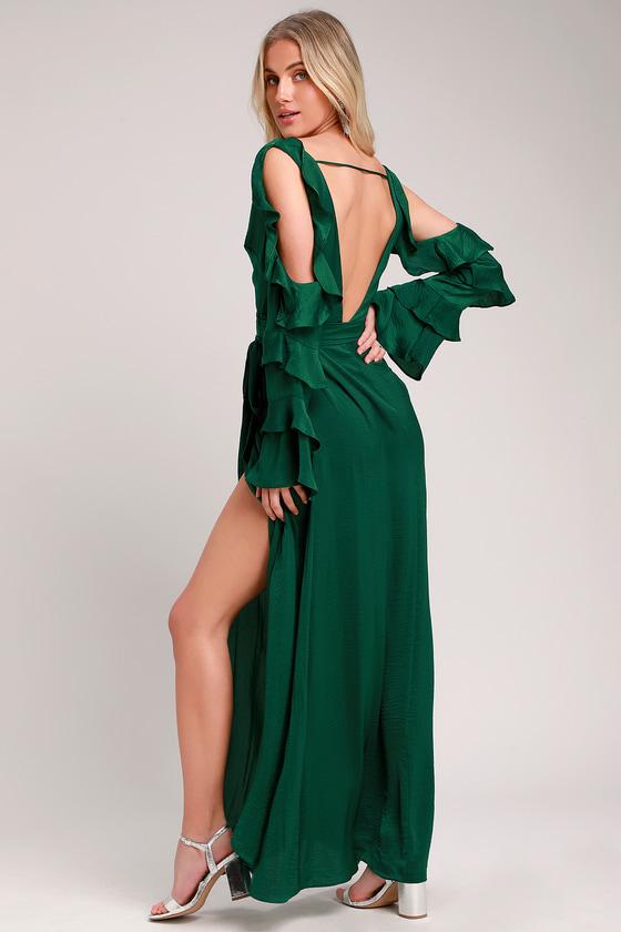 43e1c6ef4bf Sexy Dark Green Satin Dress - Satin Wrap Dress - Wrap Maxi Dress
