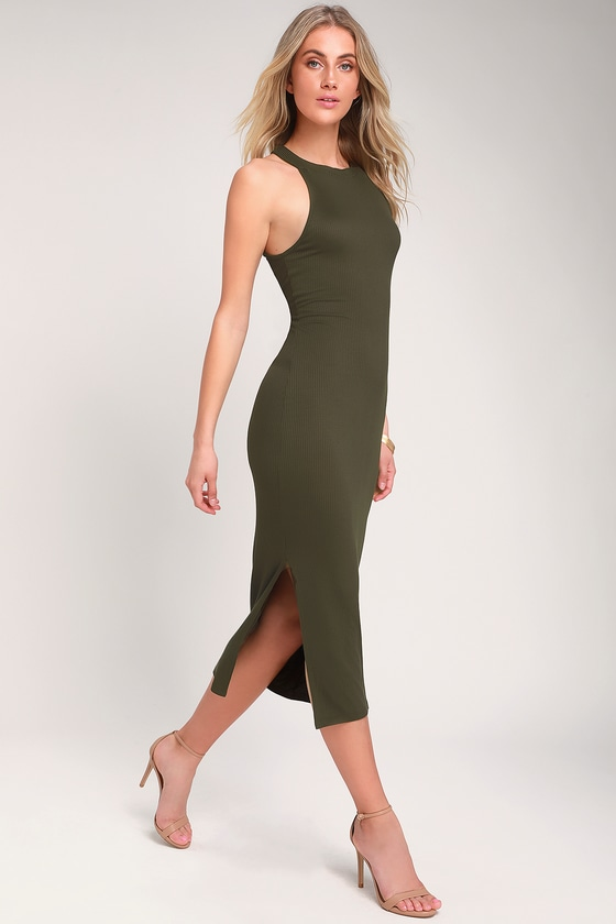 2c6028bb432 Olive Green Dress - Ribbed Bodycon Dress - Ribbed Midi Dress