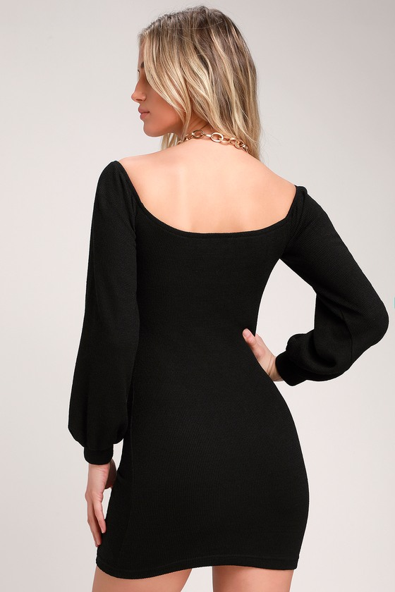 e9395330a6 Sexy Black Dress - Bodycon Dress - Off-the-Shoulder Ruched Dress