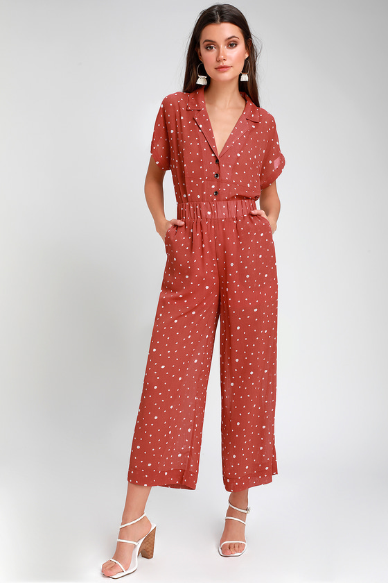 1930s Wide Leg Pants and Beach Pajamas Brynnlee Rust Red Polka Dot Culotte Pants - Lulus $42.00 AT vintagedancer.com