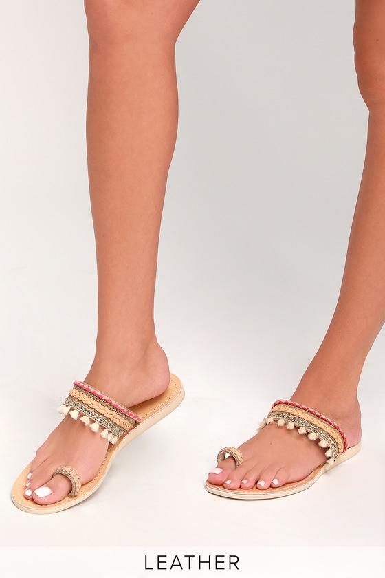 6d23b6a4899e Cocobelle Mahal - Coral Sandals - Flat Sandals - Toe-Loop Sandals