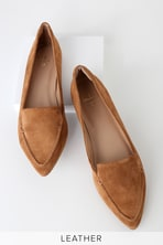 Pointed Camel Loafers - Loafer Flats - Vegan Suede Loafers c68cc3c24