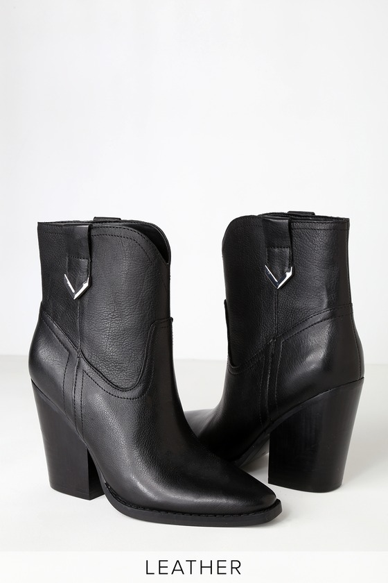 It\'s love at first sight with the Kendall + Kylie Callum Black Leather High-Heel Boots! A classic cowboy silhouette is infused with a sleek minimalist look thanks to a luxe genuine leather construction and a sharp pointed toe. Pull tabs with silver accents at both sides. 4\