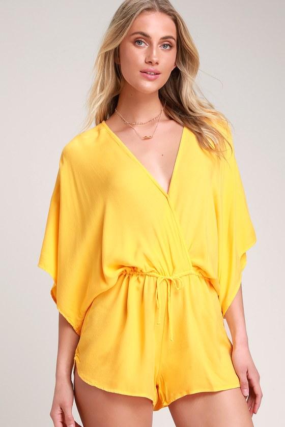 b6957e3b69af On the Road Beach Breaker - Yellow Romper - Kimono Sleeve Romper