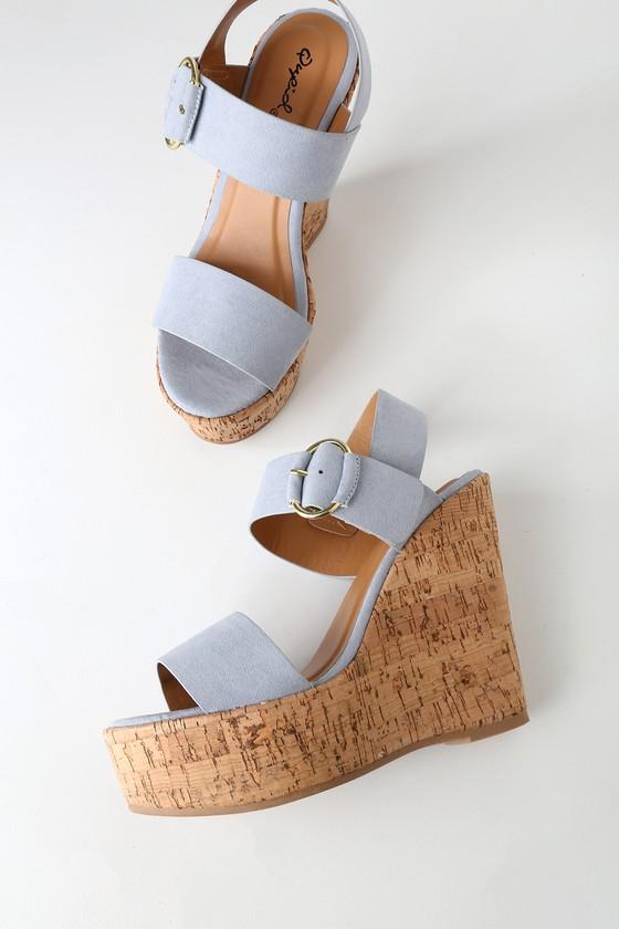 a197bdac5dbe Ash Blue Sandals - Wedge Sandals - Cork Wedge Sandals - Wedges
