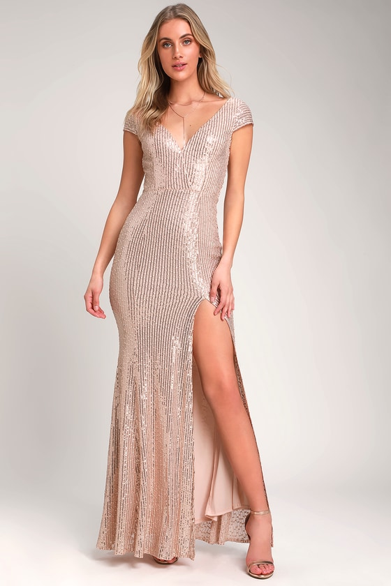 4a3eb7eeab2 Rose Gold Sequin Dress - Sequin Maxi Dress - Embroidered Dress