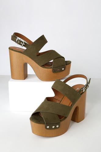 29b364981e01 Lorraine Khaki Green Suede Platform Sandals