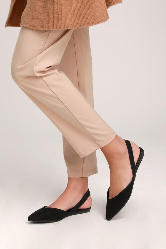 ac64fe0120 Cute Black Flats - Slingback Flats - Pointed-Toe Flats