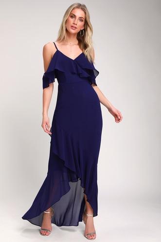 394ab34a19 Caden Royal Blue Off-the-Shoulder Ruffled Maxi Dress