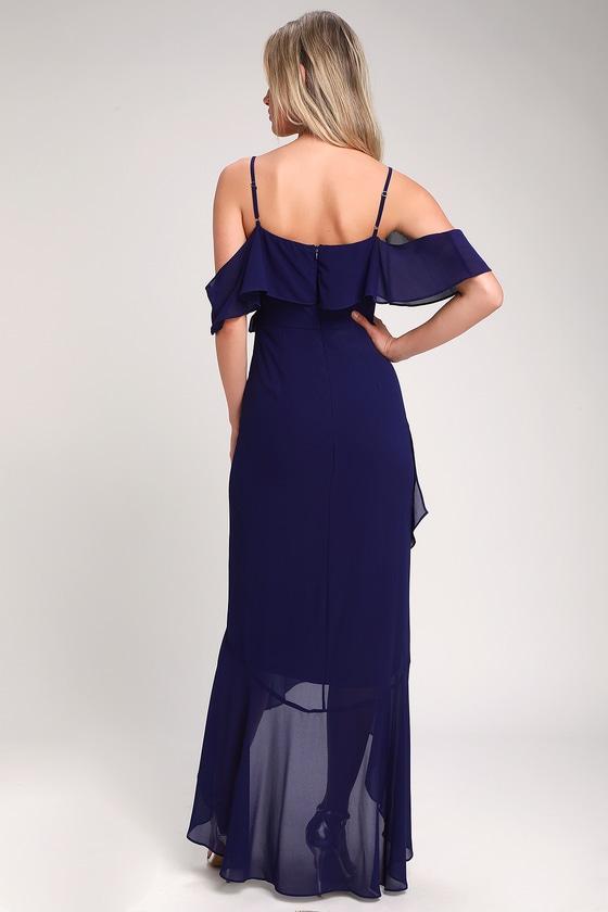 83225a91fa0 Lovely Royal Blue Dress - Off-the-Shoulder Dress - Maxi Dress