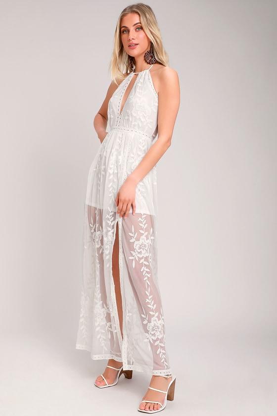 439e8e8f23 Cute White Maxi Dress - Boho Maxi Dress - Embroidered Maxi Dress