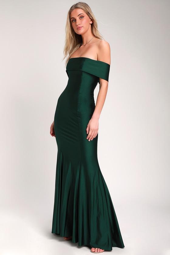 So Enchanted Emerald Green Off,the,Shoulder Maxi Dress