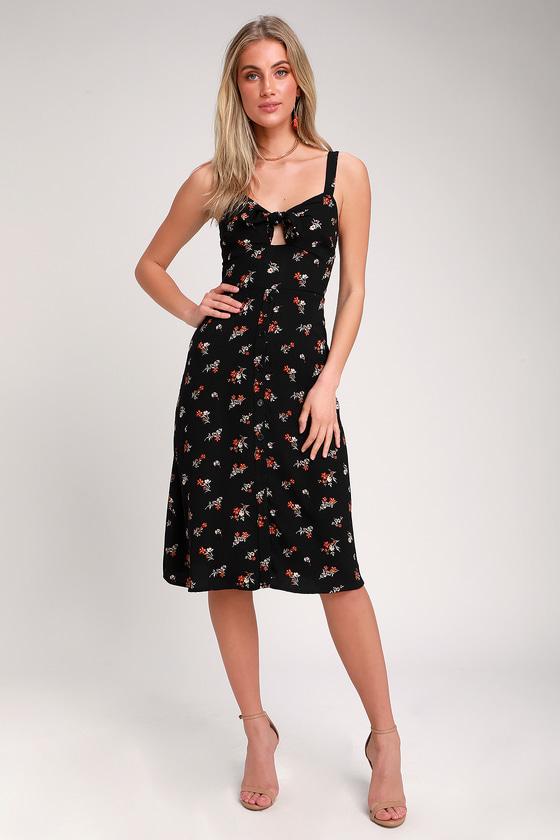 6f601dfbcc2b Cute Black Dress - Floral Print Midi Dress - Tie-Front Dress