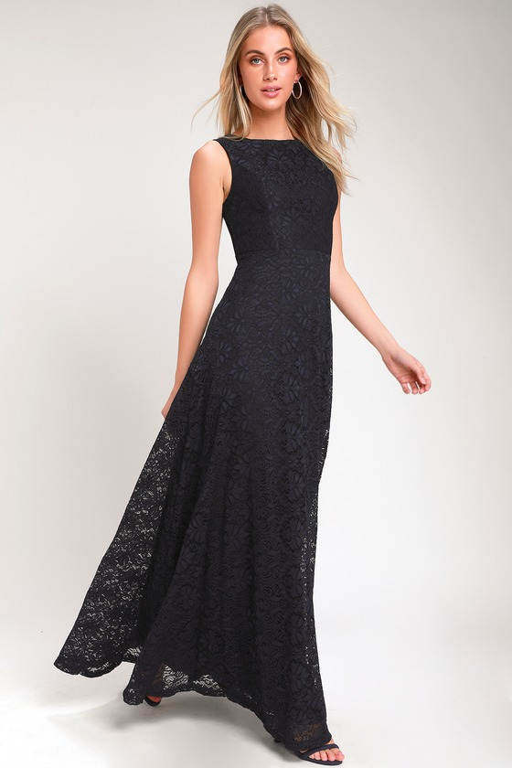 LUCIANA NAVY BLUE LACE SCOOP BACK MAXI DRESS