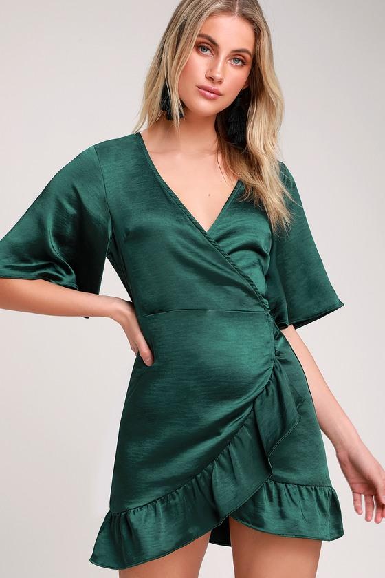 f17a17456486 Flirty Dark Green Dress - Satin Mini Dress - Satin Wrap Dress