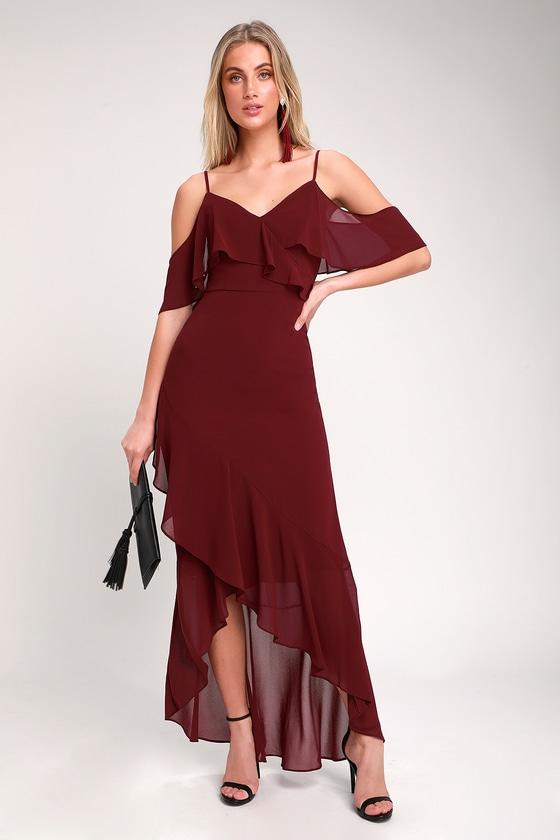 fd30146f9252 Lovely Burgundy Dress - Off-the-Shoulder Dress - Maxi Dress