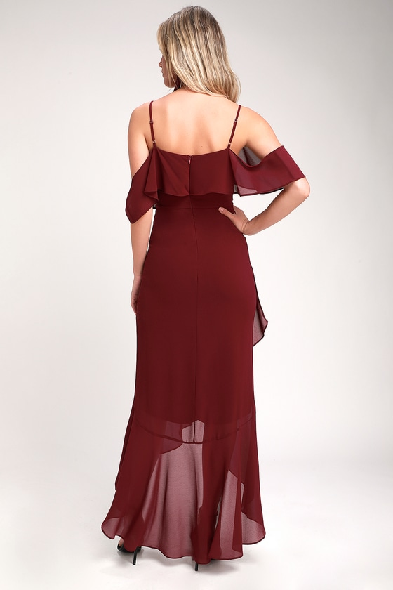ec2384363c2 Lovely Burgundy Dress - Off-the-Shoulder Dress - Maxi Dress