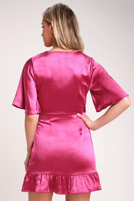 adc21385f4d1 Flirty Magenta Dress - Satin Mini Dress - Satin Wrap Dress