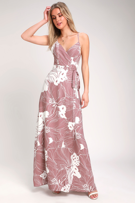 5e7853d2c1693 Cute Mauve Dress - Wrap Dress - Wrap Maxi Dress - Mauve Maxi