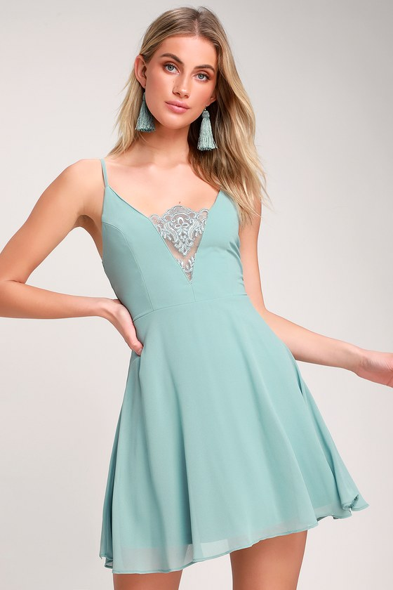bd3367aec529 Cute Dusty Blue Dress - Blue Skater Dress - Lace Skater Dress