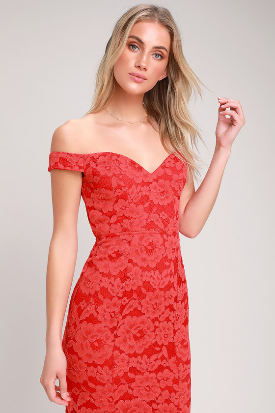 4f52d4cc786 Lovely Red Lace Maxi Dress - Lace Off-the-Shoulder Dress - Gown
