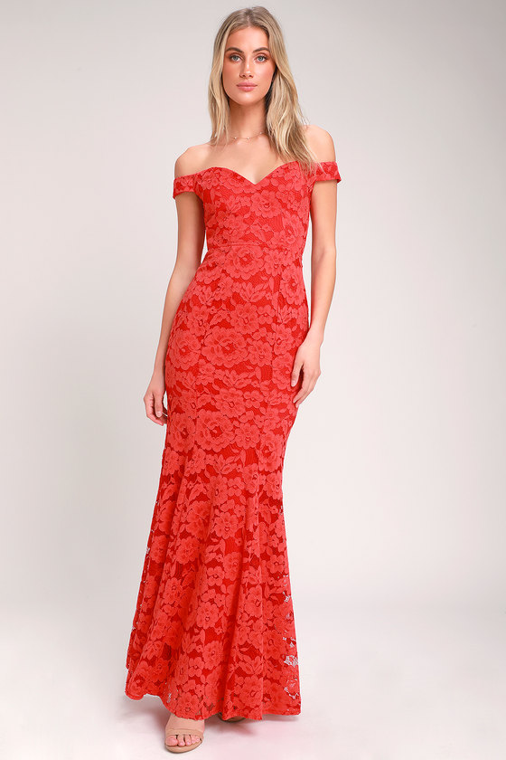 98e6fe7bd44 Lovely Red Lace Maxi Dress - Lace Off-the-Shoulder Dress - Gown