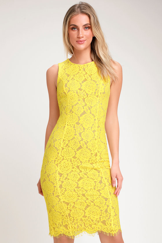 b46f4ef1fecf Chic Yellow Dress - Lace Dress - Midi Dress - Sleeveless Dress