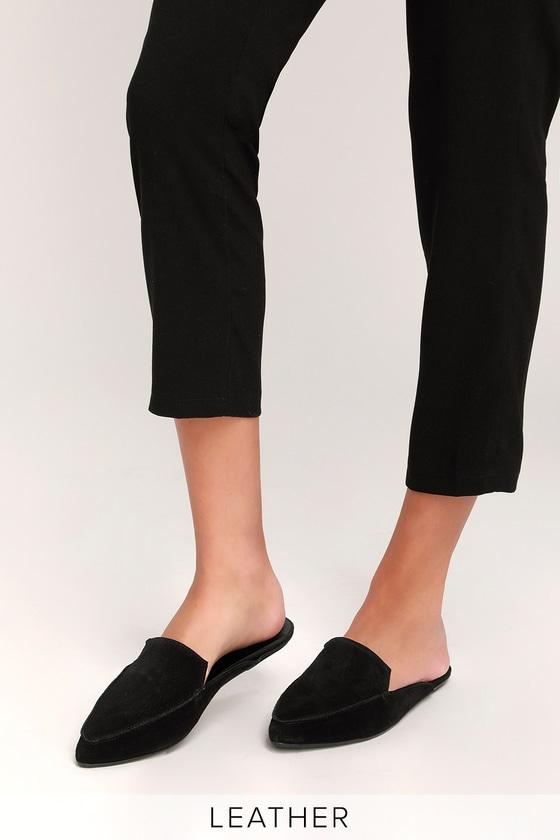 Suede Leather Loafer Slides